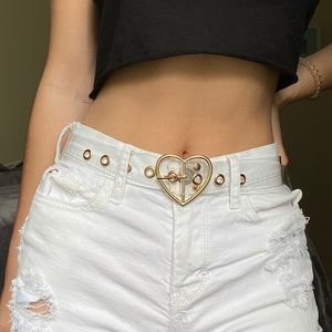 Accessories - 2 gold and clear, heart and circle belts